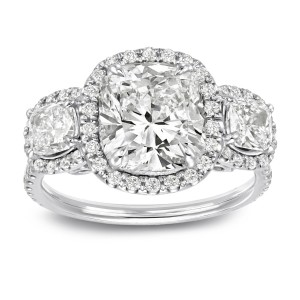 White Gold 4 2/5ct TDW Certified Cushion Cut Diamond Halo 3-Stone Engagement Ring - Custom Made By Yaffie™