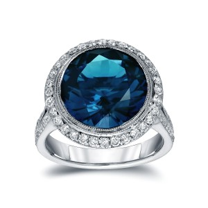 White Gold 6 3/4ct TDW Blue Round-Cut Halo Diamond Engagement Ring - Custom Made By Yaffie™