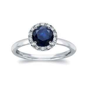 White Gold 7/8ct Blue Sapphire and 1/6ct TDW Diamond Halo Ring - Custom Made By Yaffie™