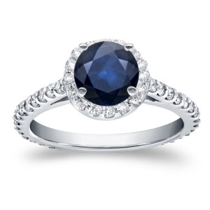 White Gold 7/8ct Blue Sapphire and 3/5ct TDW Diamond Halo Ring - Custom Made By Yaffie™