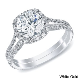 White or Gold 1 4/5ct TDW Round Halo Diamond Engagement Ring - Custom Made By Yaffie™