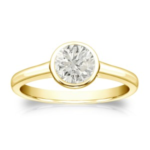 Gold 1/2ct TDW Round Diamond Solitaire Bezel Engagement Ring - Custom Made By Yaffie™