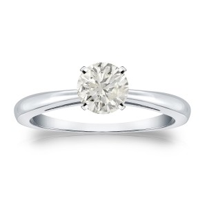Gold 1/2ct TDW Round Diamond Solitaire Engagement Ring - Custom Made By Yaffie™