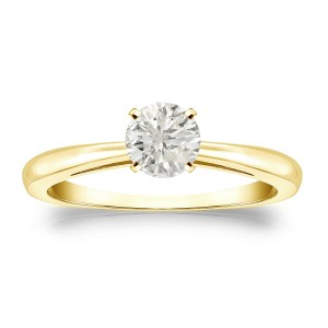 Gold 1/3ct TDW Round Diamond Solitaire Engagement Ring - Custom Made By Yaffie™