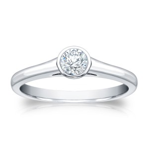 Gold 1/4ct TDW Round Cut Diamond Bezel Solitaire Ring - Custom Made By Yaffie™