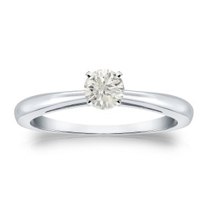 Gold 1/4ct TDW Round Diamond Solitaire Engagement Ring - Custom Made By Yaffie™