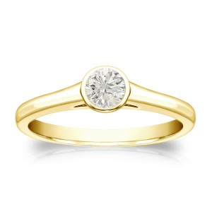 Gold 1/4ct TDW Round-cut Diamond Solitaire Bezel Engagement Ring - Custom Made By Yaffie™