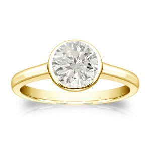 Gold 1ct TDW Round-cut Diamond Solitaire Bezel Engagement Ring - Custom Made By Yaffie™