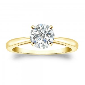 Gold 1ct TDW Round-cut Diamond Solitaire Engagement Ring - Custom Made By Yaffie™