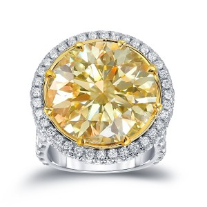Two-Tone Gold 22 1/ 2ct TDW Certified Yellow Diamond Halo Engagement Ring - Custom Made By Yaffie™