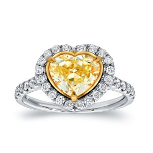 Two-Tone Gold 3ct TDW Certified Fancy Yellow Diamond Heart-Shaped Engagement Ring - Custom Made By Yaffie™