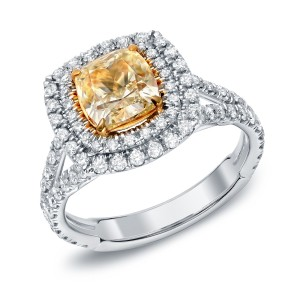 Two-tone Gold 2 1/2ct TDW Certified Fancy Yellow Cushion-cut Diamond Ring - Custom Made By Yaffie™