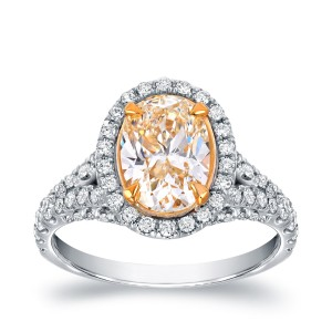 Two-tone Gold 2 7/8ct TDW Fancy Yellow Oval-shaped Diamond Ring - Custom Made By Yaffie™