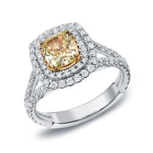 Two-tone Gold 2ct TDW Certified Fancy Yellow Cushion-cut Diamond Ring - Custom Made By Yaffie™