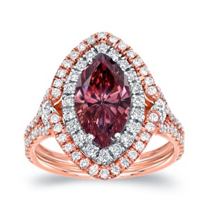 Two-tone Gold 3 1/8ct TDW Pink Diamond Marquise Double Halo Ring - Custom Made By Yaffie™