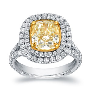 Two-tone Gold 4 1/5ct TDW Certified Cushion-cut Double Halo Fancy Yellow Diamond Engagement Ring - Custom Made By Yaffie™
