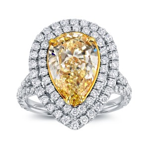 Two-tone Gold 4ct TDW Fancy Yellow Diamond Pear Halo Ring - Custom Made By Yaffie™