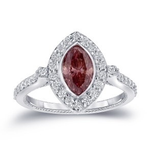 White Gold 1 1/ 2ct TDW Pink Diamond Marquise Ring - Custom Made By Yaffie™
