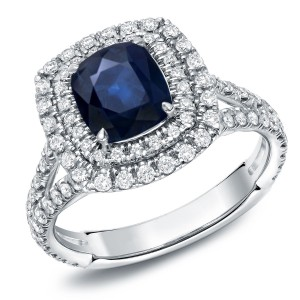White Gold 1 1/2ct Blue Sapphire and 1ct TDW Diamond Double-Halo Ring - Custom Made By Yaffie™