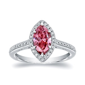 White Gold 1 1/3ct TDW Marquise Halo Pink Diamond Engagement Ring - Custom Made By Yaffie™