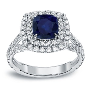 White Gold 1 1/4ct Blue Sapphire and 1ct TDW Diamond Double-Halo Ring - Custom Made By Yaffie™