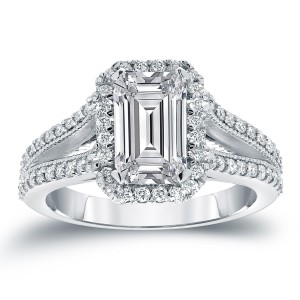 White Gold 2 1/2ct TDW Emerald Cut Diamond Halo Engagement Ring - Custom Made By Yaffie™