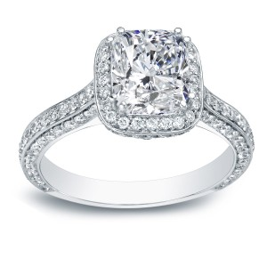 White Gold 2 1/4ct TDW Certified Cushion Diamond Engagement Ring - Custom Made By Yaffie™