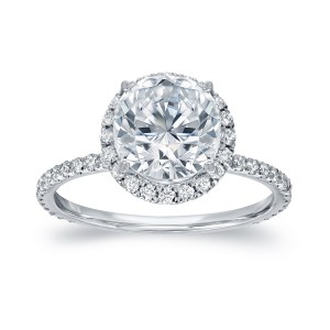 White Gold 2 3/5ct TDW Certified Round Cut Diamond Halo Engagement Ring - Custom Made By Yaffie™