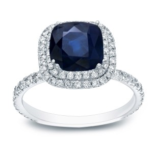 White Gold 2ct Blue Sapphire and 1ct TDW Diamond Double Halo Ring - Custom Made By Yaffie™