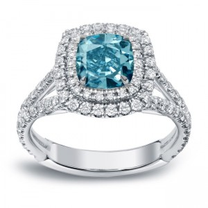 White Gold 2ct TDW Blue Diamond Double Halo Engagement Ring - Custom Made By Yaffie™
