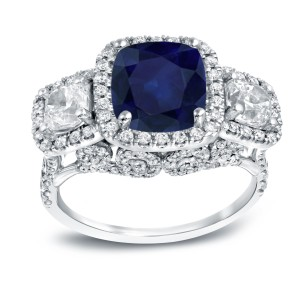 White Gold 3ct Blue Sapphire and 2ct TDW Halo Diamond Ring - Custom Made By Yaffie™