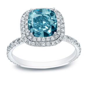 White Gold 3ct TDW Cushion-Cut Blue Diamond Halo Engagement Ring - Custom Made By Yaffie™
