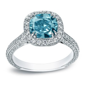 White Gold 3ct TDW Cushion-Cut Blue Diamond Halo Engagement Ring - Custom Made By Yaffie™