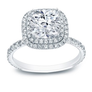 White Gold 3ct TDW Cushion-cut Certified Diamond Double Halo Engagement Ring - Custom Made By Yaffie™