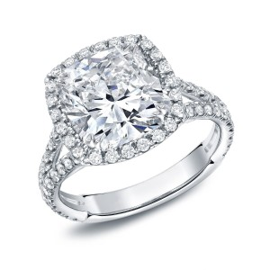 White Gold 4 1/3ct TDW Cushion-cut Diamond Halo Engagement Ring - Custom Made By Yaffie™
