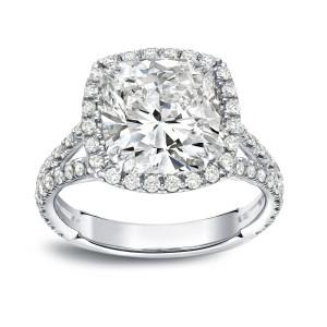 White Gold 4 1/3ct TDW Cushion-cut Halo Diamond Engagement Ring - Custom Made By Yaffie™