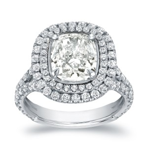 White Gold 4 1/5ct TDW Certified Cushion-cut Double Halo Diamond Engagement Ring - Custom Made By Yaffie™