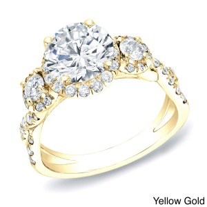 Certified Gold 2ct TDW Round Halo Diamond Engagement Ring - Custom Made By Yaffie™