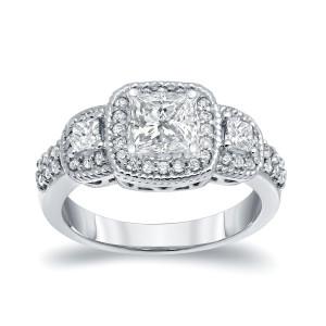 Platinum 1 1/2ct TDW 3-Stone Diamond Engagement Ring - Custom Made By Yaffie™