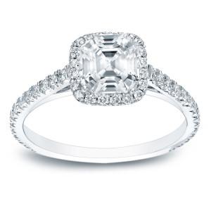 Platinum 1 1/2ct TDW Certified Asscher Cut Diamond Halo Engagement Ring - Custom Made By Yaffie™