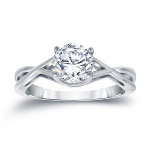 Platinum 1 1/4ct TDW Round Cut Diamond Solitaire Engagemet Ring - Custom Made By Yaffie™