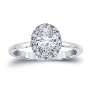 Platinum 1 1/8ct TDW Certified Oval Diamond Halo Engagement Ring - Custom Made By Yaffie™