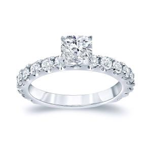 Platinum 1 3/4ct TDW Certified Cushion Cut Diamond Engagement Ring - Custom Made By Yaffie™