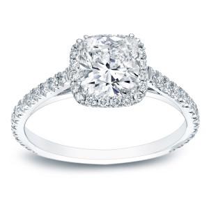 Platinum 1 3/4ct TDW Certified Cushion Cut Diamond Halo Engagement Ring - Custom Made By Yaffie™