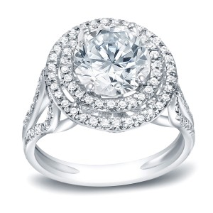 Platinum 1 3/4ct TDW Certified Round Cut Diamond Halo Engagement Ring - Custom Made By Yaffie™