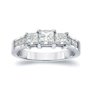 Platinum 1/2ct TDW Princess Diamond Engagement Ring - Custom Made By Yaffie™