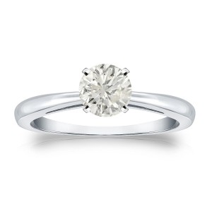 Platinum 1/2ct TDW Round-cut Diamond Solitaire Engagement Ring - Custom Made By Yaffie™