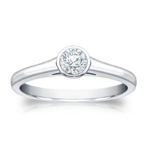 Platinum 1/4ct TDW Round-cut Diamond Bezel Solitaire Engagement Ring - Custom Made By Yaffie™