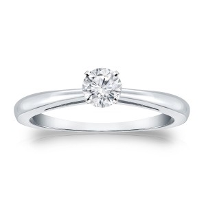 Platinum 1/4ct TDW Round-cut Diamond Solitaire Engagement Ring - Custom Made By Yaffie™