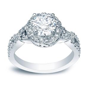Platinum 1ct TDW Certified Round Diamond Braided Halo Engagement Ring - Custom Made By Yaffie™